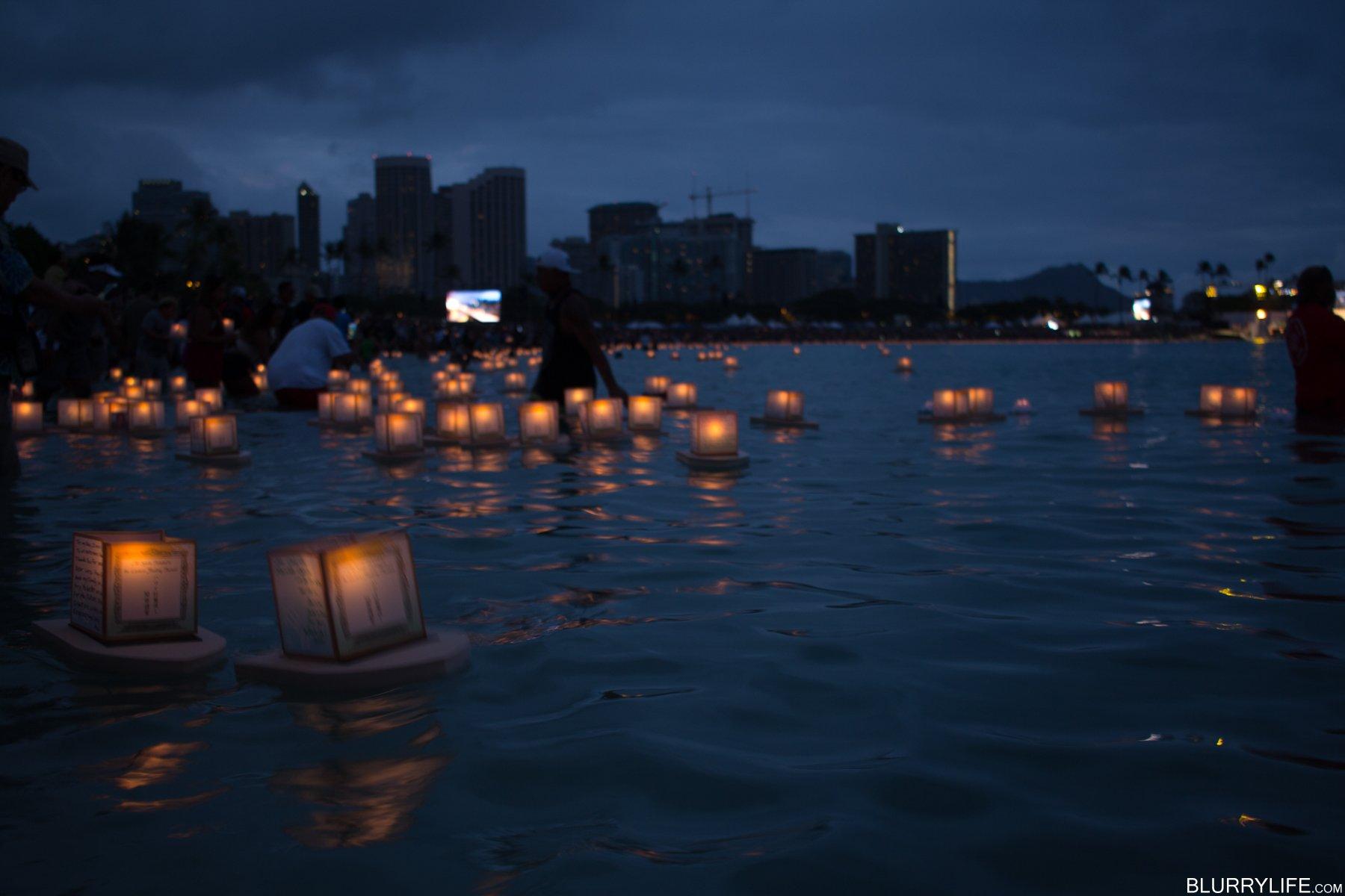 Lantern Floating Ceremony, Ala Moana beach park, Oahu ...
